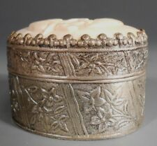 China Chinese Copper Silvered Box w/ Bone Elephant Carving Insert ca. 1900