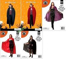 "56""65""Long Adult Black Red Dracula Cape Cloak Halloween Horror Fancy Dress NEW"
