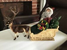 Byers Choice Santa In Sleigh With Reindeer