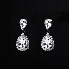 Silver Rhodium Plated Rhinestone crystal drop earring Wedding Pageant Earrings