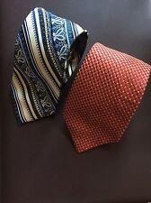 Lot Of 2 Designer Ties  Dormeuil  & Orvieto Mens 100% Silk Blue & Orange
