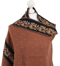 Brown Indian 100% Pashmina Wool Embroidered Shawl Cut Border Stole Scarf Kashmir