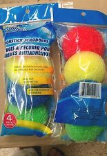 Scrubbers 8 pcs Bath Kitchen Dishes Spa Cleaning Circle Plastic Scourer