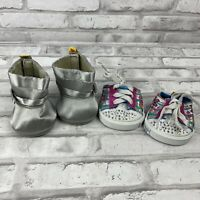 Build A Bear BAB Shoes Sneakers Silver Boots Lot of 2 Rhinestone Peace Flowers