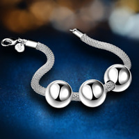 Unisex 925 Silver Plated Net Chain Beads Charm Pendant Bangle Bracelet Jewelry