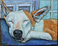 NAP DOG DAY DREAMER new oil painting 8x10 canvas original signed art Crowell $