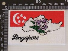 VINTAGE SINGAPORE EMBROIDERED SOUVENIR PATCH WOVEN CLOTH SEW-ON BADGE