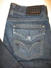 Affliction Blake Relaxed Straight Flap Pkts Mens Dk Blue Jeans Sz 34 x 32 Mint