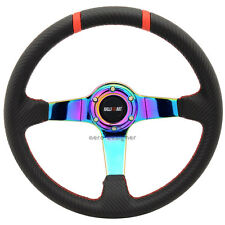 350mm Black Carbon Fiber Look Neo Spoke Steering Wheel For Mitsubishi Ralliart