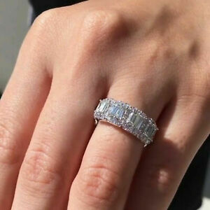 Baguette Halo Wedding Engagement Eternity Band Promise Rings 925 Sterling Silver