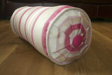 Laura Ashley Bolster Cushion. Forbury Stripe Cerise Complete NEW feather Bolster