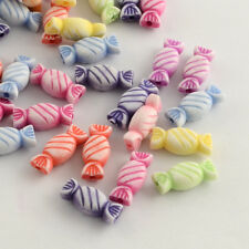 100 Mixed Pastel Colour Sweets Candy Beads Jewellery Craft 15mm x 7mm