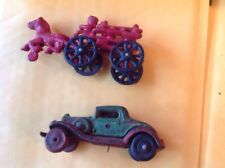 Antique Coupe Cast Metal Toy Car & METAL TOY CAR & Horse Drawn Fire Wagon