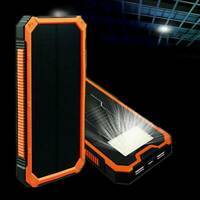 50000mAh Solar Power Bank Waterproof Dual USB LED Battery Charger Case For Phone