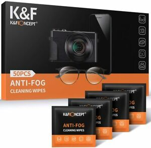K&F Concept 50 PCS anti-fog wipes individually packaged for glasses anti-fog