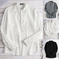 Mens Long Sleeve Breathable Shirts Collarless Casual Formal Business Tee Tops US