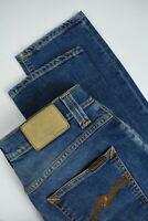 RRP £120 NUDIE GRIM TIM RAINY COMPACT Men's W30/L34 Blue Stretch Jeans 3806_mm