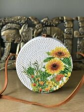 Authentic Bali Rattan Roundie Sunflower Painted Sling Bag 20cm