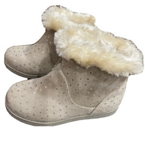Cat & Jack Toddler Tan Side Zip Faux Leather Fur Lining Boots   11    New