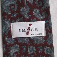 TOOTAL VINTAGE TIE 1980s 1990s MOD BURGUNDY GREY BLUE PAISLEY PATTERNED