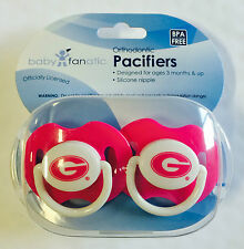 Georgia Bulldogs PINK Baby Infant Pacifiers NCAA NEW - 2 Pack SHOWER GIFT!