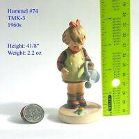 Genuine Vintage Hummel Figurine Little Gardener 1960s TMK-3 Hummel #74   Signed