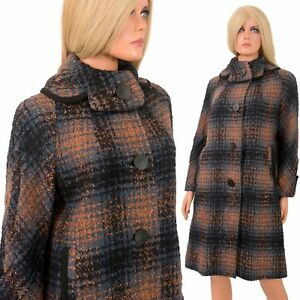 Vintage 50s 60s Shadow Plaid Chunky Woven Wool LUCY DRESS COAT Trapeze Bentons