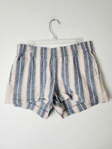 J. Crew Factory Size 0 Linen Boyfriend Striped Shorts Vintage