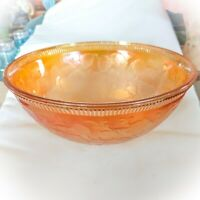 "Antique US Glass Co Strawberries Marigold Carnival Glass Fruit Bowl 7.5"" USA"