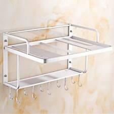 Wall Mounted Microwave Oven Rack Shelf Kitchen Organizer Storage Holder W/ Hooks