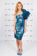 Stunning vintage Karen Okada mermaid blue sequin one shoulder wiggle dress 8