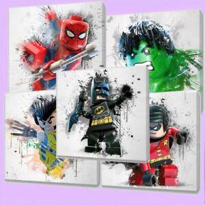 Lego Marvel & Dc  Paint Splatter Canvas wall art