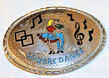 VTG S.S.I. BELT BUCKLE HANDCRAFTED TURQUOISE CORAL INLAY WESTERN SQUARE DANCE