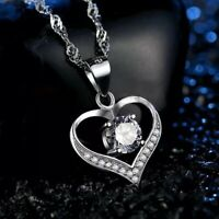 Fashion 925 Sterling Silver White Crystal Heart Pendant Necklace Women's Jewelry