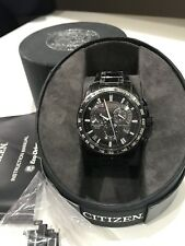 Rare Mens Citizen Eco Drive Atomic Solar Black Radio Controlled Watch AT4007-54E