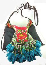 Shoulder Bag Kuchi Thai Hill Tribe Bag Purse Embroidered Beads Leather Strap Big
