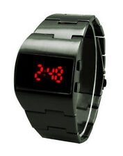 Vintage Styling Red LED Gunmetal Digital Fat Chunky Asymmetric Steel Watch