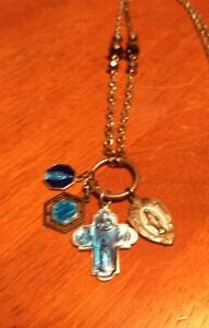 Art Necklace Vintage Salvage Religious Enamel Medals FREE SHIP Blue Silvertone