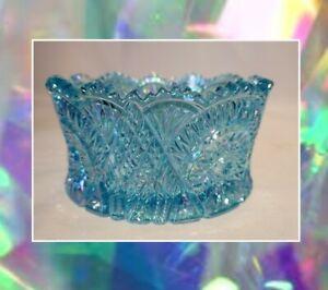 Mosser Glass blue DIAMOND CUT PINWHEEL candy dish / bowl... carnival glass look