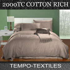 Queen Size Bed 2000tc No-iron Cotton Rich 4pc Fitted Flat Sheet Set Mocha