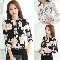 New Korean Women Ladies Long Sleeve Floral Slim Casual Chiffon Shirt Blouse Tops