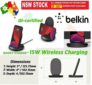 Belkin Boost Charge 15W Qi Wireless Charging Stand & QC 3.0 24W Wall Charger
