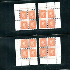 LOT 90392 MINT NH 306 P18 MATCHING SET PLATE BLOCKS KING GEORGE V1