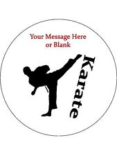"""Novelty Personalised Male Karate Silhouette 7.5"""" Edible Wafer Paper Cake Topper"""
