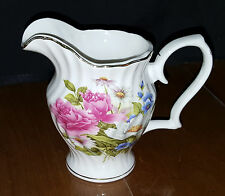 Grace's Teaware Creamer China Pink Roses and Blue Flowers Gold Trim Beautiful