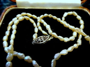 An Antique Art Deco Bridal Baroque Seed Pearl Necklace Silver Clasp