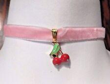 PINK VELVET CHERRIES CHOKER rockabilly retro kawaii kitschy necklace collar A4