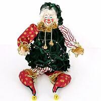 "Collectible Christmas Clown Doll 19"" Tree Costume Shelf Sitter RARE"