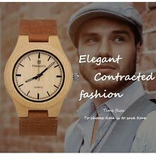 New Fashion Men Watches Leather Bamboo Wooden Watch Unisex Quartz Fathers Day