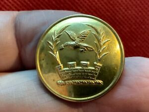 EAGLE IN FLIGHT OVER MURAL CROWN/PALMS 25.3mm GILT LIVERY BUTTON FIRMIN 20th C